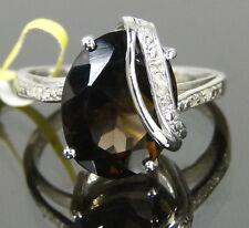 Elegant Smoky Quartz Diamond Cocktail Ring Platinum / 925 Sterling  8.71ct. Sz10