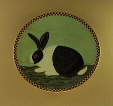 Black White Bunny Warren Kimble Barnyard Animals Plate Rabbit Folk Art Farm