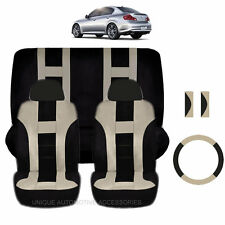 BEIGE & BLACK POLY AIRBAG READY SEAT COVERS STEERING COMBO 9PC SET FOR CARS 2223