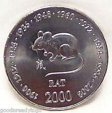 SOMALIA RAT CHINESE ZODIAC BIRTHDAY 2000 Copper-Nickel COIN uncirculated