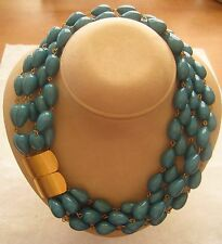 JAY FEINBERG (STRONGWATER) Turquoise Color Teardrop Beads Collar Necklace