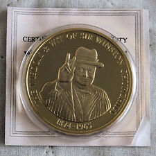 WINSTON CHURCHILL 40mm 2010 GOLD PLATED PROOF MEDAL  - WISDOM AND WIT - coa a