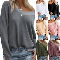 Women Off Shoulder Long Sleeve Sweater Blouse Tops Solid Loose Jumper Pullover