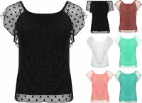 Womens Plus Mesh Spot Gypsy Boho Off Shoulder Top Ladies Sleeveless Polka Dot