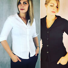 SEXY STRETCH FITTED LADIES WHITE BUTTON UP WORK SHIRT BLOUSE W 3/4 SLEEVE 8 - 16