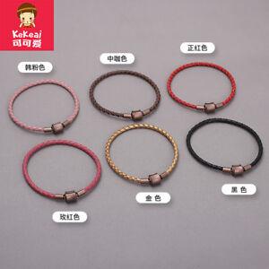 Braid texture leather bracelet hand rope(手工牛皮绳手链 手绳3.0mm 扣头4mm)可穿3D硬金转运珠情侣款编织纹理