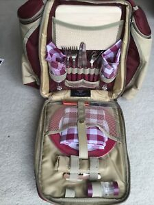 Greenfield Collection Deluxe Mulberry Picnic Backpack Hamper for Two People BNWT