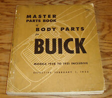 Original 1928 - 1951 Buick Master Body Parts Catalog Manual Book