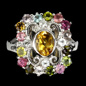 Unheated Oval Citrine 7x5mm Tourmaline White Topaz 925 Sterling Silver Ring 9