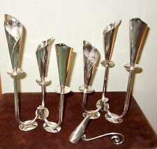 """Mid-C.Modern- JENSEN DENMARK """"CALLA LILY"""" Silverplated Tryptych CANDLE HOLDER"""