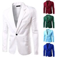 Men Casual Slim Formal One Button Suit Blazer Coat Jacket Bussines Tops 8 colors