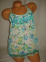 Bongo Tank Top Blue Floral Sheer Lace Ruffle Layered Sleeveless