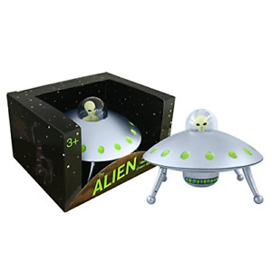 Off the Wall Toys Alien Glow-in-The-Dark UFO Space Ship and Bendable Action Toy