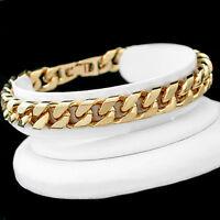 """9.5"""" LIFETIME WARRANTY Mens 9mm SQUARE Curb Link 14ct Gold GL SOLID Bracelet"""