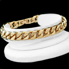 "9.5"" Lifetime Warranty Mens 9mm Square Curb Link 14ct Gold Gl Solid Bracelet"