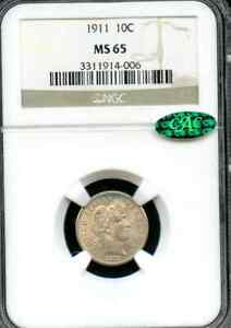 1911 Barber Dime NGC MS 65 & CAC Approved for Superior Quality /Eye Appeal White