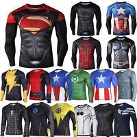 Compression Marvel Superhero Men Long Sleeve T-shirt Gym Sport Bike Jersey Tops