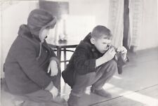1973 Cute boys friends checking camera roll film children Soviet Russian photo