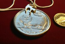 """1997 Isle of Man Long Haired Smoke Cat Pendant on a  24"""" White Gold Filled Chain"""