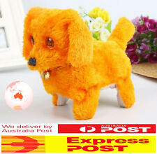 2X Cute Puppy Plush Neck Bell Walking Barking Electronic Dog Kids Toy Xmas Gift
