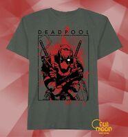 New Marvel Deadpool Vintage Splatter Black Mens T-Shirt