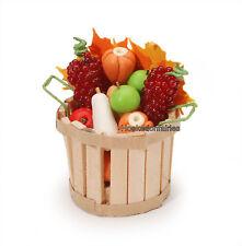 Miniature Fall Basket with Fruit & Vegetables Dollhouse Fairy Garden  DA 2318-36