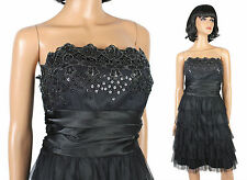 Masquerade Prom Dress 16/17 XL Strapless Black Silver Tiered Tulle Satin Gown