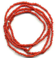 """Vintage 3mm White Heart Beads Cherry Red Glass 28.5"""" Strand From Tribal Belt"""