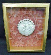 Framed 1990s Margaret Furlong Porcelain Bisque Christmas Shell Angel w/ Cross