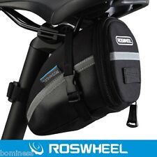 Roswheel Outdoor Bike Saddle Bag PVC Seat Tail Pouch with Strap Black