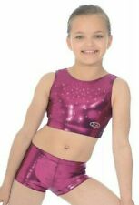 """New Zone Gymnastic Dance cheer GYMNASTIC crop top AND SHORTS SET BERRY 28"""""""
