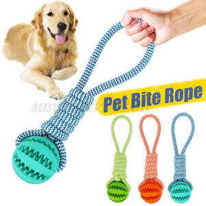 3 Color Pet Dog Toys Rope Rubber Ball Bite Chew Tooth Cleaning Puppy Supplies AU