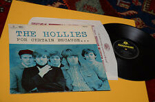 HOLLIES LP FOR CERTAIN BECAUSE 1°ST ORIG UK 1965 MONO EX GATEF LAMINATED COVER