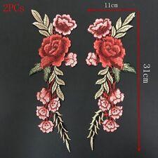 2PCs Rojo Flor Rose Tela Bordado Applique Remiendo Parches Costura ngvjh