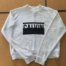 Calvin Klein Jeans White Sweatshirt Size S with Black Logo
