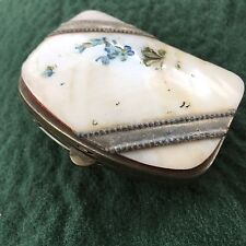 Vintage Mid Century Painted Shell Plated Metal Concertina Coin Purse Bridal