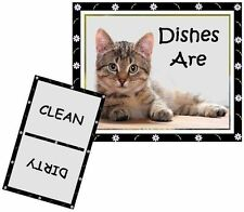 Cat Dishwasher Magnet (Tabby #2) - Clean/Dirty *Ship Free