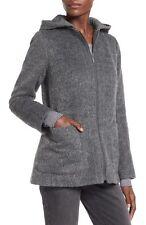 Collection B   Hooded Zip Front Coat Jacket women's sz LG in Grey $88
