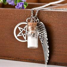 Fashion Charm Necklace Angel Wing Pentagram Salt&Burn Bottle Pendant Long Chain