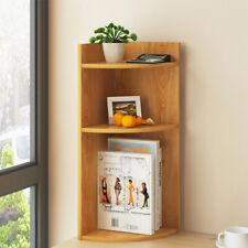 3-Tier Corner Display Bookshelf Rack Storage Shelves Wooden Bookcase Home New