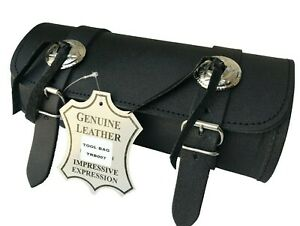 MOTORCYCLE MOTORBIKE REAL LEATHER TOOL ROLL SADDLE BAG ZN-TRB007