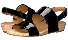 Easy Spirit Noal slingback sandals wedge heel black patent sz 6.5 WIDE New