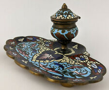 Antique 19th C FRENCH BRONZE & CHAMPLEVE ENAMEL INKWELL Cloisonne Ink Well Liner