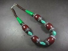 N5164 TIBET FASHION Gypsy tribal Maroon Resin Wood Runway BOLD Massive Necklace