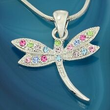 W Swarovski Crystal Multi Color Wings Dragonfly New Pendant Necklace Jewelry