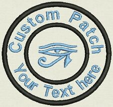 "Horus eye 3.5"" Circle Patch - Add text or Name - Iron On, or Sew On"