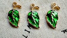 Leaf charm 6 gold and green pendant jewellery supplies C438