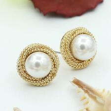 Women 15mm Big Round White Pearl Gold Stud Earring Vintage Casual Jewelry Gift