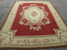 Old Hand Made French Design Original Wool 10x8 Maroon Aubusson 305X236cm