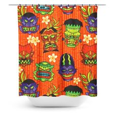 Sourpuss Monster Tiki Shower Curtain Hawaiian Halloween Horror Goth Decor
